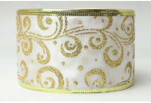 Лента новогодняя 6.3 см, с рисунком Вьюга и жестким краем, золото на белом