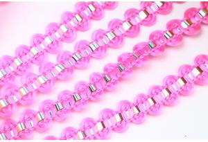 Тесьма с фольгированной полосой, 8 мм, розовая