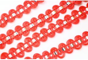 Тесьма с фольгированной полосой, 8 мм, красная