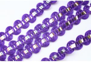 Тесьма с фольгированной полосой, 8 мм, фиолетовая