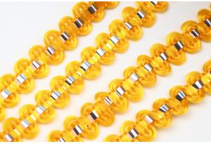 Тесьма с фольгированной полосой, 8 мм, золото