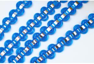 Тесьма с фольгированной полосой, 8 мм, синяя