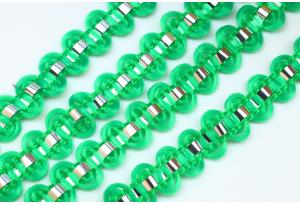 Тесьма с фольгированной полосой, 8 мм, зеленая