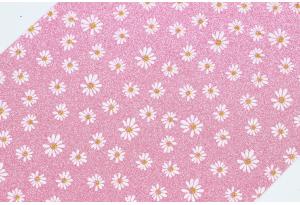 Экокожа (ткань) с ромашками и глиттером 19x30 см, толщина 1 мм, темно-розовая