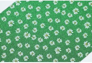 Экокожа (ткань) с ромашками и глиттером 19x30 см, толщина 1 мм, зеленая