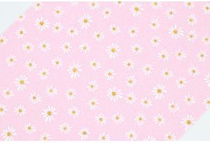 Экокожа (ткань) с ромашками и глиттером 19x30 см, толщина 1 мм, светло-розовая