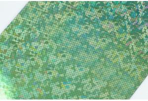 Экокожа 20x30 см, толщина 1 мм, голограмма, светло-зеленая