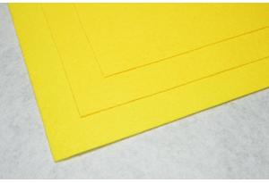 Фетр 20 х 25 см, толщина 1 мм, жесткий, желтый