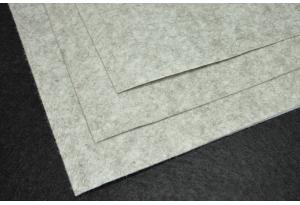 Фетр 20 х 25 см, толщина 1 мм, жесткий, серый