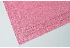 Фоамиран с глиттером 20x30 см, толщина 2 мм, розовый