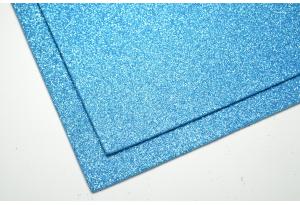 Фоамиран с глиттером 20x30 см, толщина 2 мм, голубой