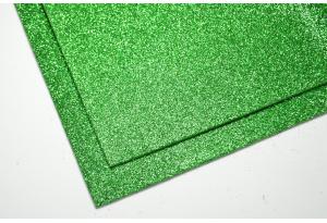 Фоамиран с глиттером 20x30 см, толщина 2 мм, зеленый