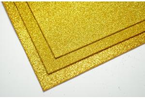 Фоамиран с глиттером 20x30 см, толщина 2 мм, золото