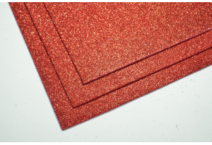 Фоамиран с глиттером 20x30 см, толщина 2 мм, красный