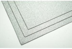 Фоамиран с глиттером 20x30 см, толщина 2 мм, серебро