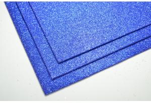 Фоамиран с глиттером 20x30 см, толщина 2 мм, синий