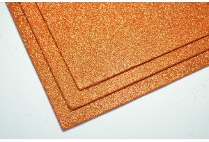 Фоамиран с глиттером 20x30 см, толщина 2 мм, оранжевый