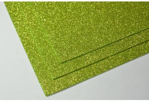 Фоамиран с глиттером 20x30 см, толщина 2 мм, салатовый