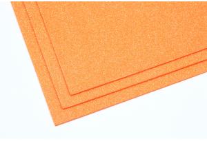 Фоамиран с глиттером 20x30 см, толщина 2 мм, светло-морковный