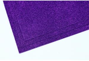 Фоамиран с глиттером 20x30 см, толщина 2 мм, фиолетовый (теплый)