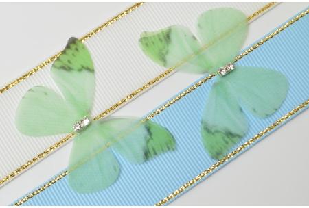 Аппликация Бабочка из шифона, 4.8 см, № 24, салатовая