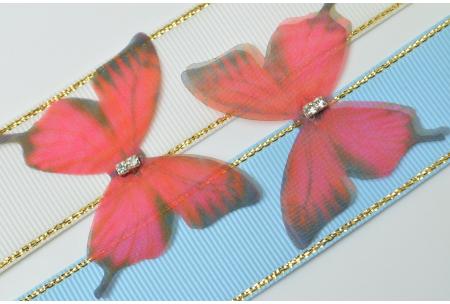 Аппликация Бабочка из шифона, 4.8 см, № 18, красная с черным