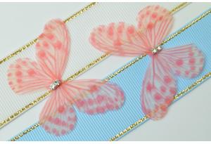 Аппликация Бабочка из шифона, 4.8 см, № 4, коралловая с белым