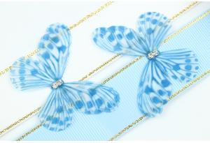 Аппликация Бабочка из шифона, 4.7 см, № 10, голубая