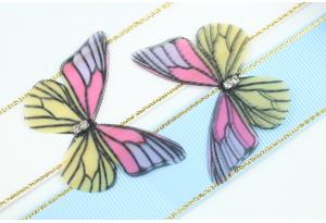 Аппликация Бабочка из шифона, 4.7 см, № 11, разноцветная