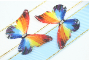 Аппликация Бабочка из шифона, 4.7 см, № 13, разноцветная