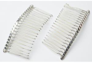 Основа гребешок для волос 7,5x4 см, цвет - серебро