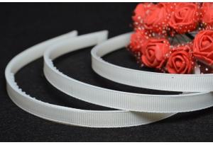 Обруч пластиковый в репсе, с зубчиками, 1 см, белый
