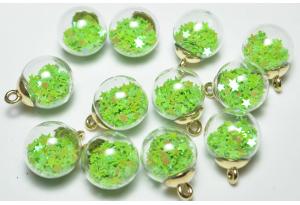 Кулон стеклянный шар с наполнителем звездочки, подвеска, светится в темноте, 20 мм, зеленый