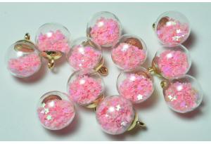 Кулон стеклянный шар с наполнителем звездочки, подвеска, светится в темноте, 20 мм, розовый