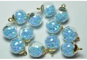 Кулон стеклянный шар с наполнителем звездочки, подвеска, светится в темноте, 20 мм, голубой