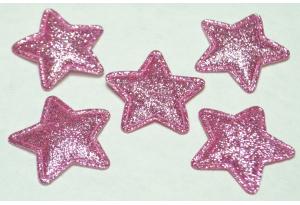 Патч, звездочка (глиттер) 3.5 см, розовые