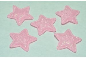 Патч, звездочка (глиттер) 3.5 см, светло-розовый