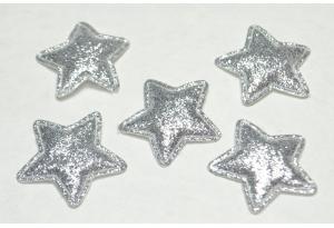 Патч, звездочка (глиттер) 3.5 см, серебро