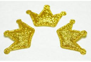 Патч Корона (глиттер), 3х4.5 см, золотая
