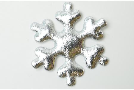 Патч новогодний, 5 см, снежинка, серебро