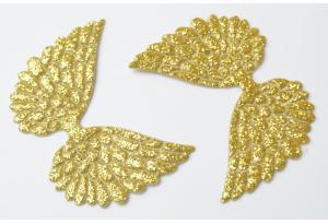 Патч Крылья с тиснением (глиттер) 4×6 см, золотой