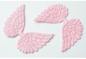 Патч Крылья с тиснением (глиттер) 4×6 см, розовый