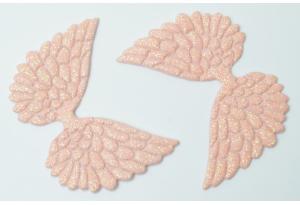 Патч Крылья с тиснением (глиттер) 4×6 см, персиковый
