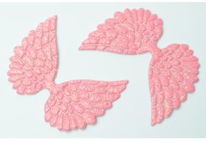 Патч Крылья с тиснением (глиттер) 4×6 см, темно-розовый
