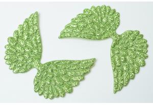Патч Крылья с тиснением (глиттер) 4×6 см, оливковый