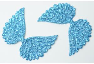 Патч Крылья с тиснением (глиттер) 4×6 см, бирюзовый