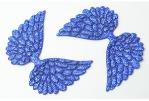 Патч Крылья с тиснением (глиттер) 4×6 см, сапфировый