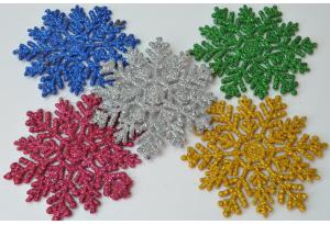 Декор жесткий, Снежинка с глиттером 8,5х8 см, микс 5 цветов