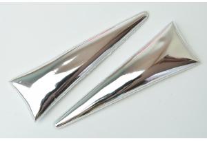 Патч Рог Единорога (экокожа), 10,3x3,3 см, серебряный