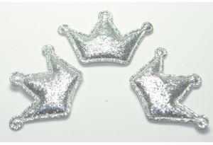 Патч Корона (глиттер), 3х4.5 см, серебро